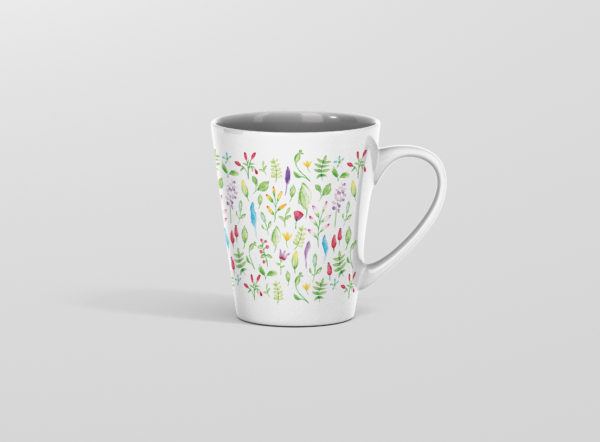 Hrnicek latte s potiskem akvarel kyticky