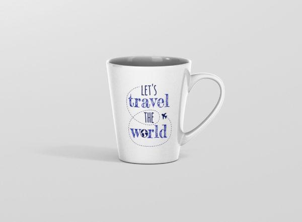 Hrnicek s potiskem lets travel the world latte