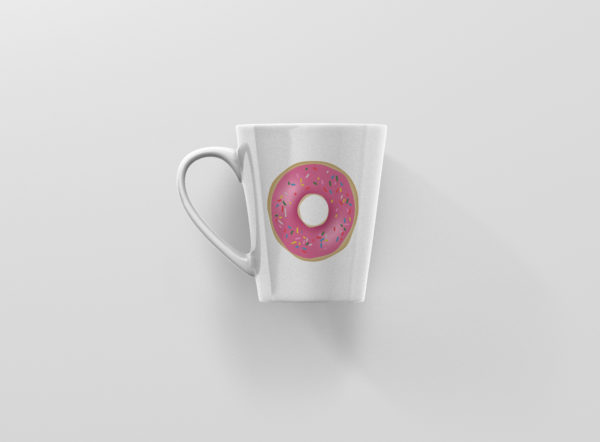 Hrnicek s potiskem ruzova kobliha latte