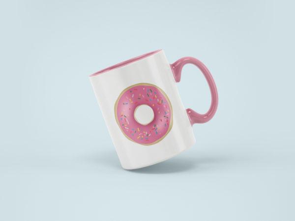 Hrnek s potiskem Donut ruzovy