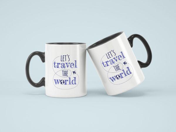 Hrnicky cerne s potiskem lets travel the world