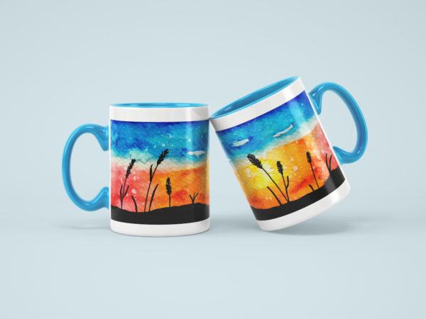 Hrnicky modre s potiskem akvarel zapad slunce