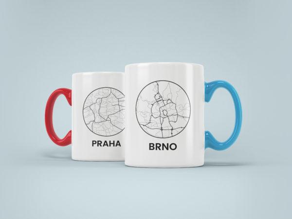 Hrnky s potiskem mapy mesta Brno Praha barevne