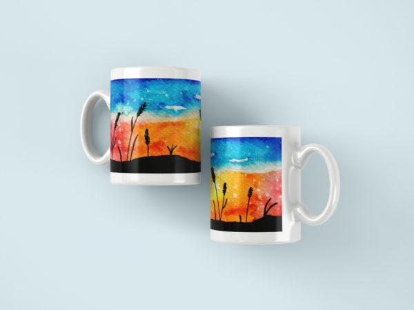 Hrnicky s potiskem akvarel zapad slunce