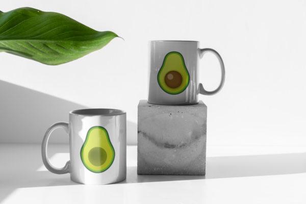 Hrnicky s potiskem avokado zatisi