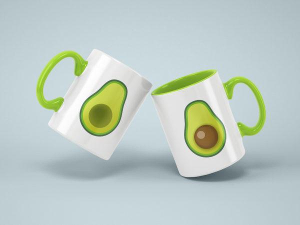Hrnicky s potiskem avokado zelene