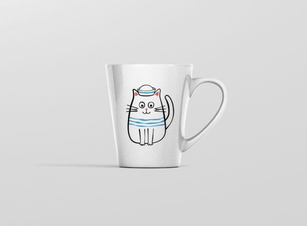 Hrnek s potiskem kocka namornik latte